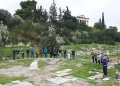 Regular Members test the spacing in the Tholos.  Photo C. Mauzy