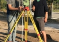 John Haberstroh and Peter Moench at the total station.