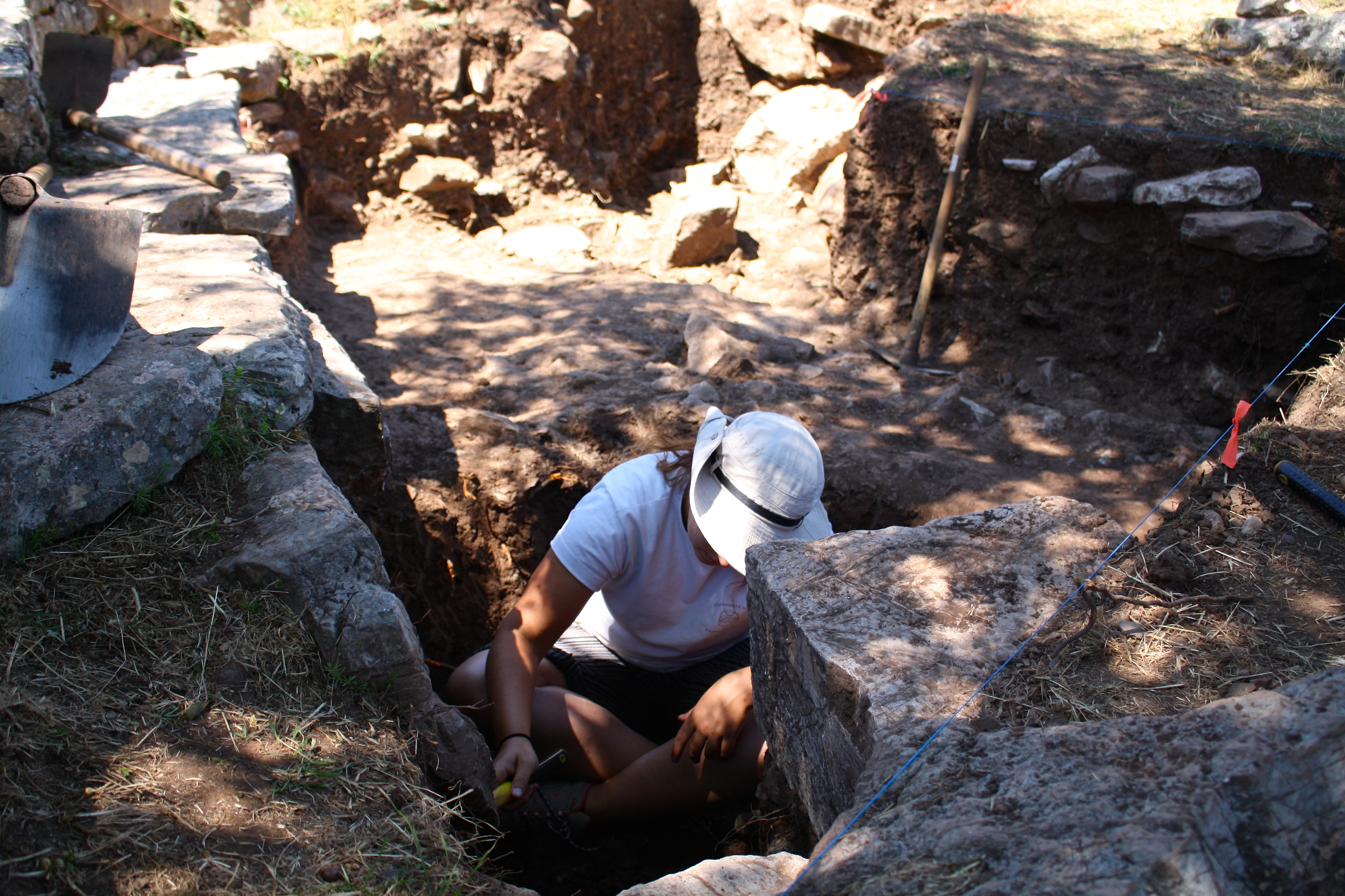 A Greek student works on excavations