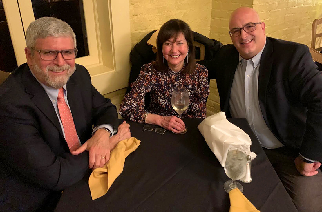 Diana E. E. and Fred S. Kleiner with George Orfanakos in 2019