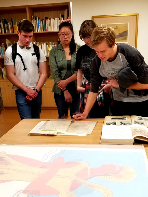 Students from the University of Victoria at the School's Archives