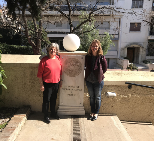 Great granddaughter of George and Lela Mylonas visits the School